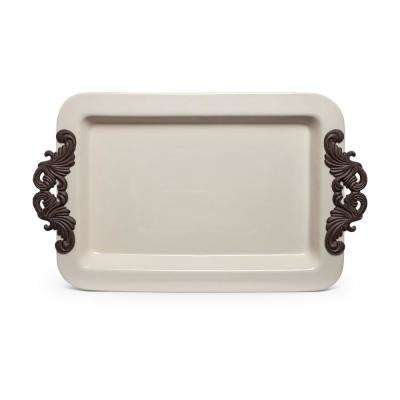 23.75 in. x 14.25 in. Rectangular Tray with Decorative Metal Handles