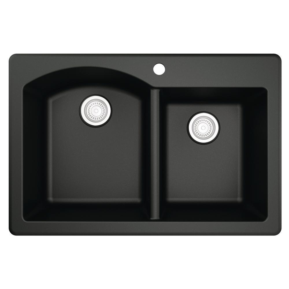 Karran Drop-In Quartz Composite 33 in. 1-Hole 60/40 Double Bowl Kitchen Sink in Black