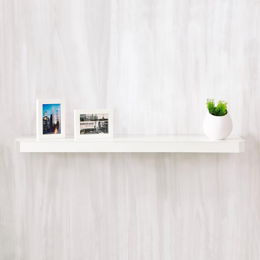 Uniq 35.4 in. W x 1.6 in. D Pearl White zBoard  Floating Wall Shelf and Decorative Shelf