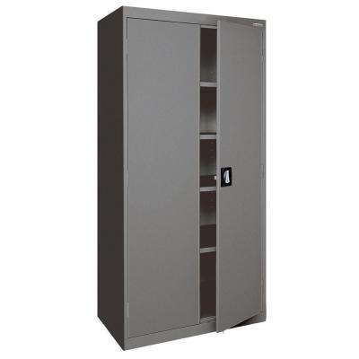 Elite Series 72 in. H x 36 in. W x 24 in. D 5-Shelf Steel Recessed Handle Storage Cabinet in Charcoal