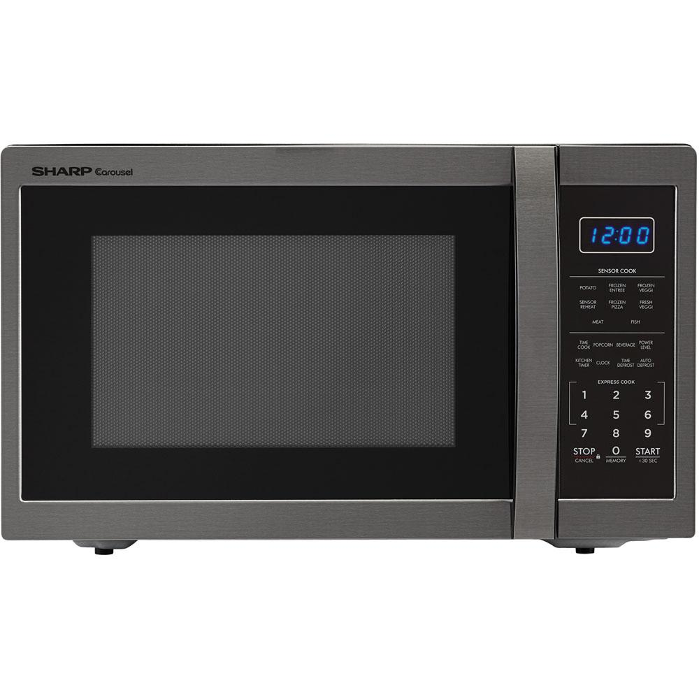 Sharp Carousel 1.4 cu. ft. Countertop Microwave in Black Stainless Steel with Sensor Cooking Technology