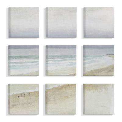 "9pc, each 12 in. x 12 in. ""Tan Blue and Grey Gentle Beach Mist Overcast Sky Painting"" by James Wiens Canvas Wall Art"
