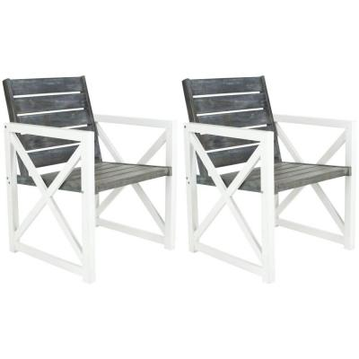 Irina White/Ash Grey Acacia Wood Outdoor Lounge Chair (2-Pack)