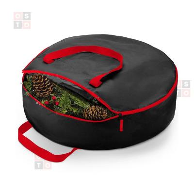 24 in Black Superior Christmas Wreath Storage Bag, Tear Proof X-Strong 600D Fabric, Artificial Wreath Storage Protection