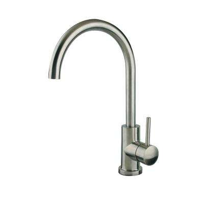 Goose Neck Stainless Steel Single-Handle Bar Faucet in Brushed Nickel