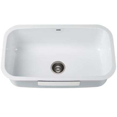Pintura Undermount Enamel Steel 31 In Single Bowl Kitchen Sink White