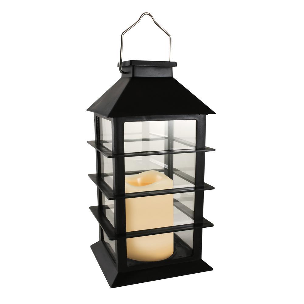 Horizontal Black Solar Powered Lantern with LED Candle