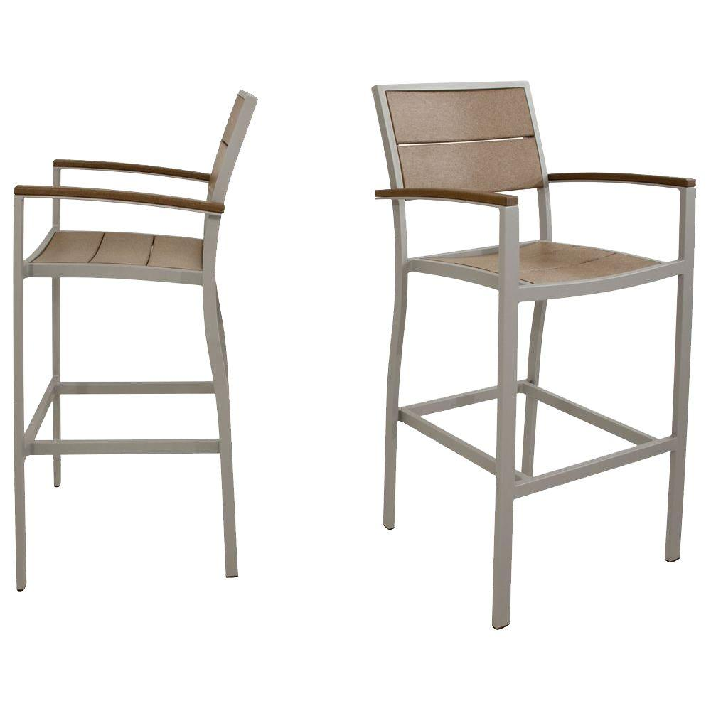 Trex Outdoor Furniture Surf City Textured Silver 2-Piece Patio Bar Chair Set with Tree House Slats