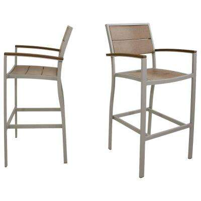 Surf City Textured Silver 2-Piece Patio Bar Chair Set with Tree House Slats