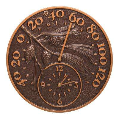 14 in. Antique Copper Pinecone Thermometer and Clock