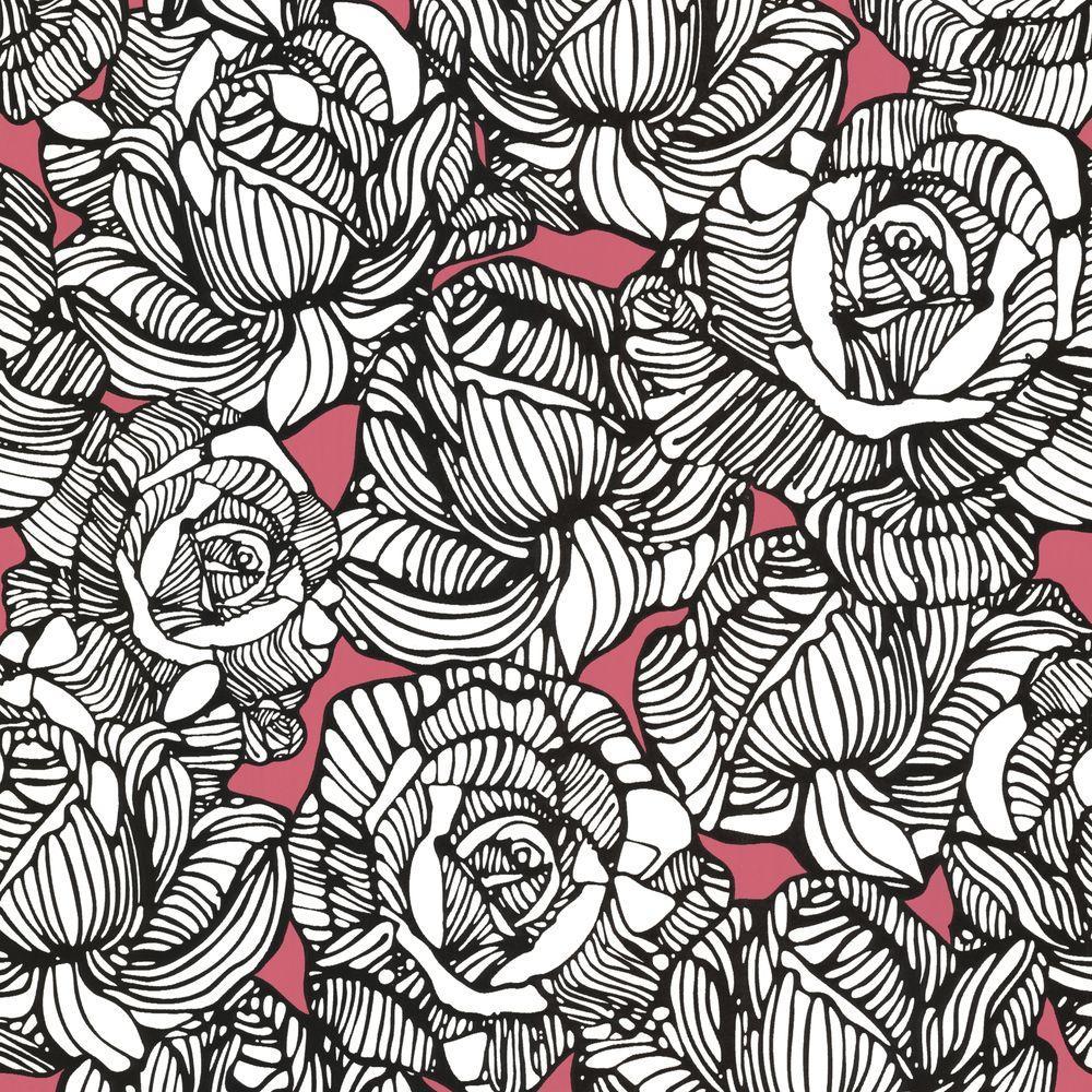 Calista Orange Modern Rose Wallpaper