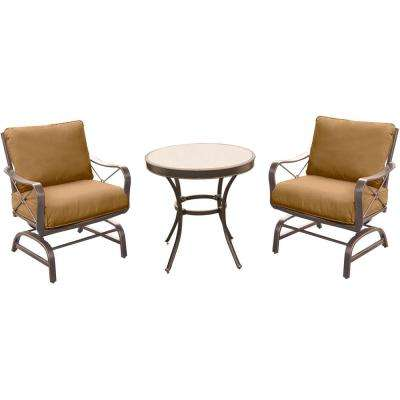 Summer Nights 3-Piece Outdoor Bistro Set with Steel Rockers and Round Glass-Top Table with Desert Sunset Cushions