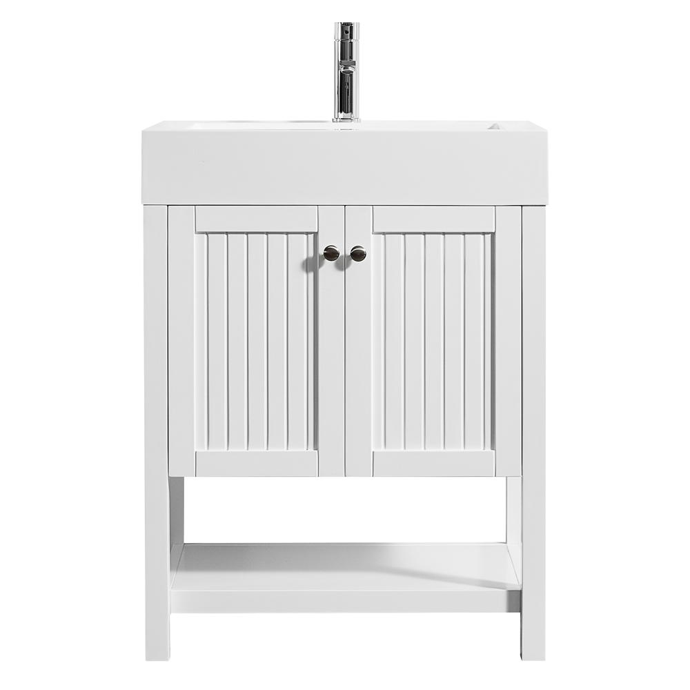 ROSWELL Pavia 28 in. W x 20 in. D Vanity in White with Acrylic Vanity Top in White with White Basin