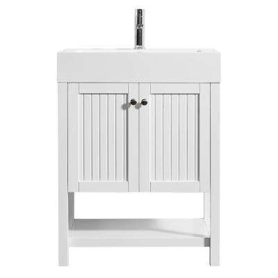 Pavia 28 in. W x 20 in. D Vanity in White with Acrylic Vanity Top in White with White Basin