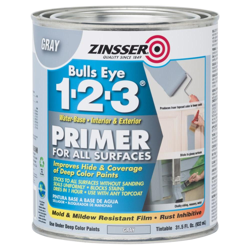 Zinsser Bulls Eye 1-2-3 31.5 oz. Water-Based Interior/Exterior Gray Primer and Sealer (Case of 4)