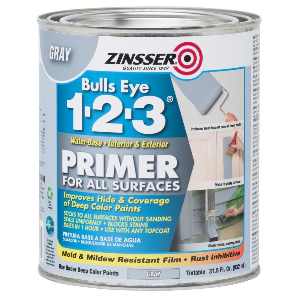 Bulls Eye 1-2-3 31.5 oz. Gray Water-Based Interior/Exterior Primer and Sealer (4-Pack)