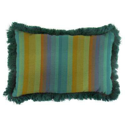 Sunbrella 9 in. x 22 in. Astoria Lagoon Lumbar Outdoor Pillow with Forest Green Fringe