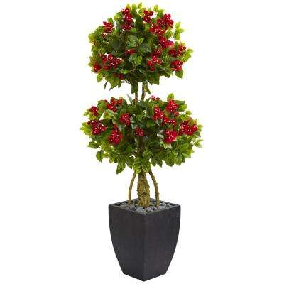 5 ft. High Indoor Double Ball Bougainvillea Artificial Tree in Black Wash Planter