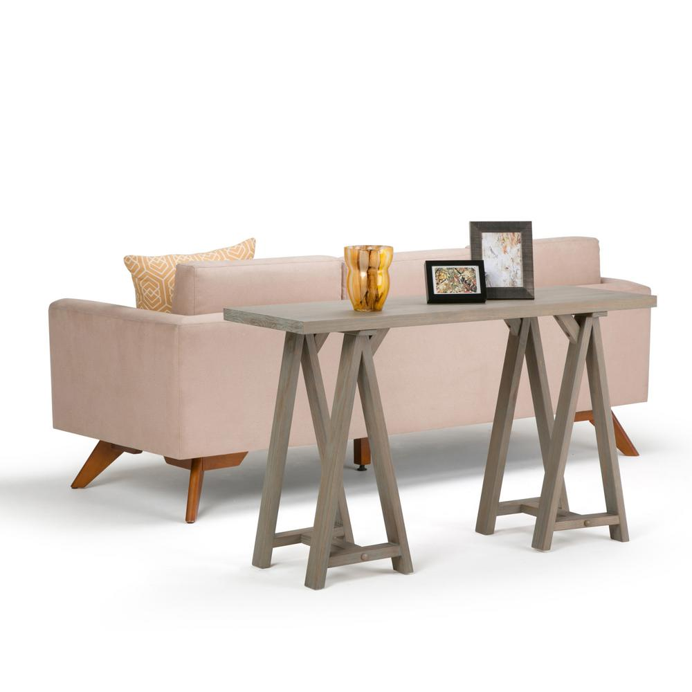 Simply Home Sawhorse Distressed Grey Console Table