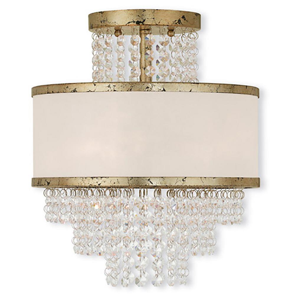Livex Lighting Prescott 3 Light Winter Gold Flush Mount