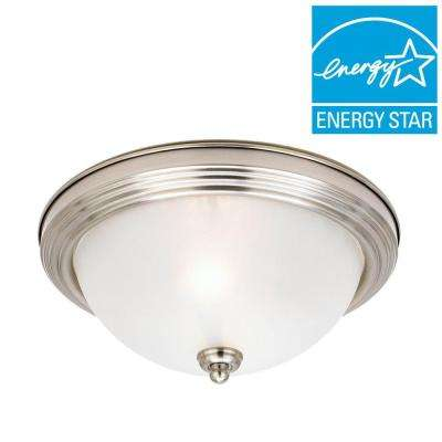 3-Light Brushed Nickel Flush Mount with LED Bulbs