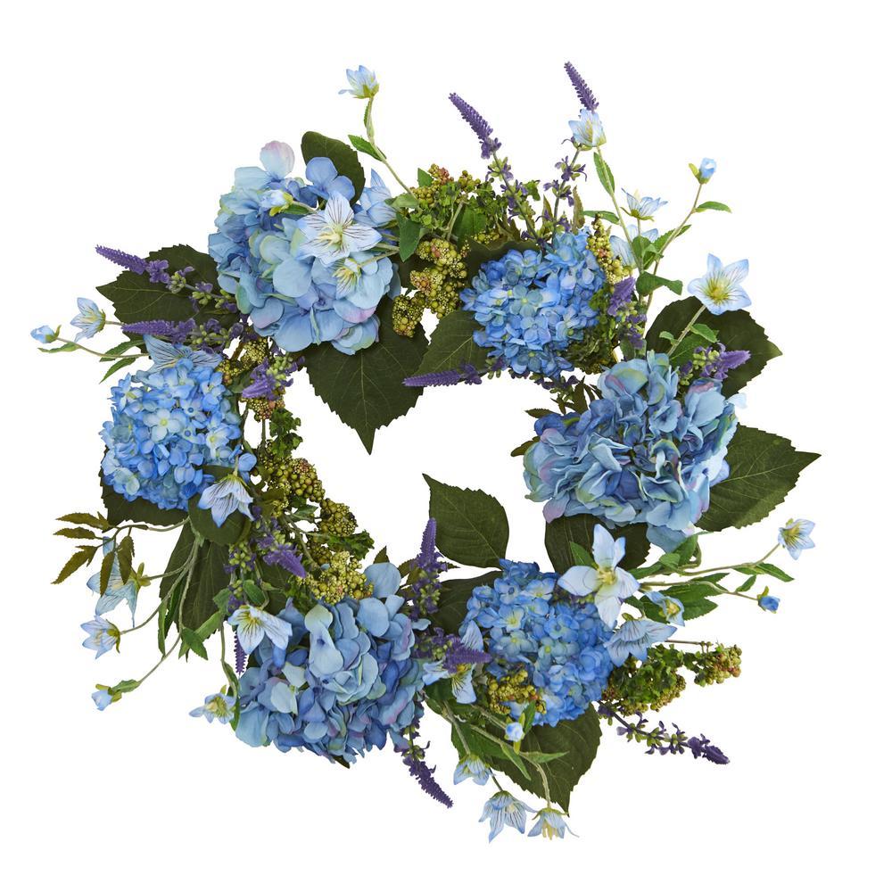 Nearly Natural 24 in. Hydrangea Wreath