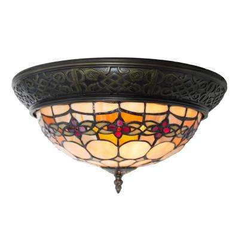 2-Light Amber Stained Glass Flushmount Light
