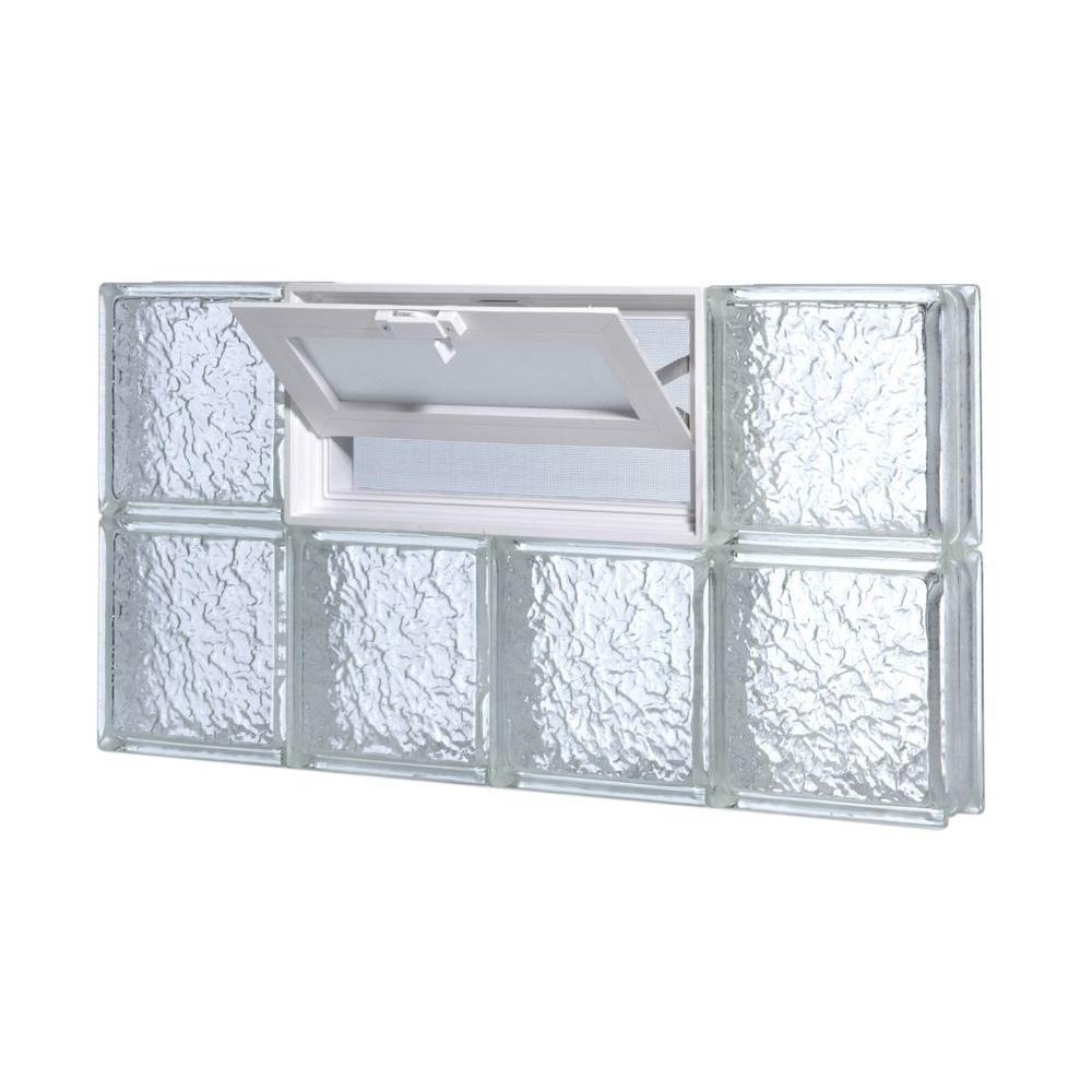 null 31 in. x 13.75 in. Vented IceScapes Pattern Glass Block Window