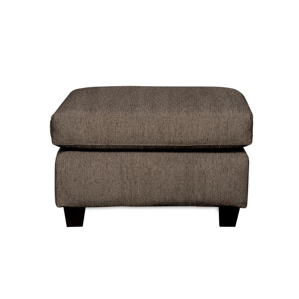 Sofab Shag Dark Fabric Upholstered Ottoman in Gray