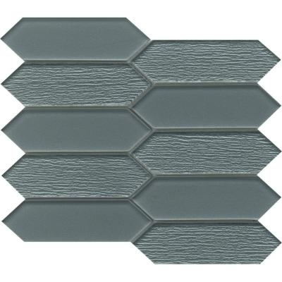 Picket Blue Glossy 9.53 in. x 10.94 in. x 0.8mm Glass Mesh-Mounted Mosaic Tile (0.71 sq. ft.)