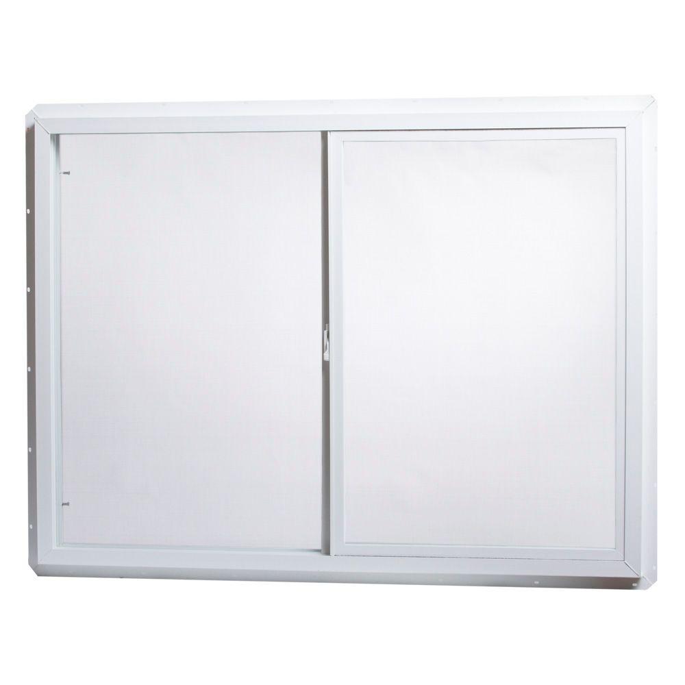 48 in. x 36 in. Utility Left-Hand Single Slider Vinyl Windows Single Glass and Screen - White