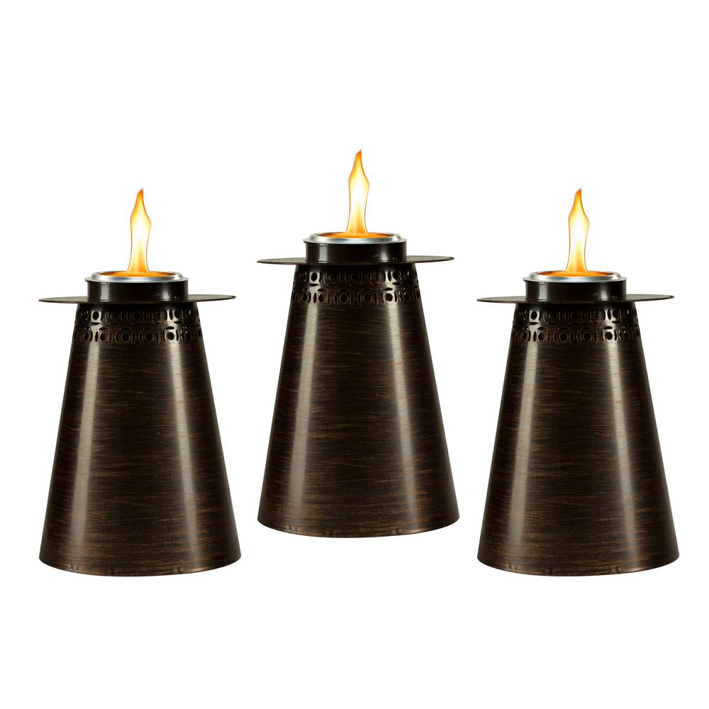 TIKI 7.5 in. Clean Burn Fire Pillar Metal Table Torch ...
