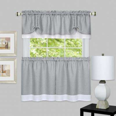 Darcy Grey/White Polyester Tier and Valance Curtain Set 58 in. W x 24 in. L