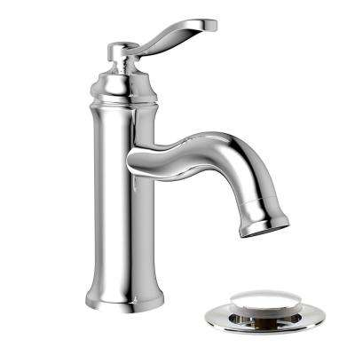 Belanger Single Hole 1-Handle Bathroom Faucet with Drain Assembly in Polished Chrome