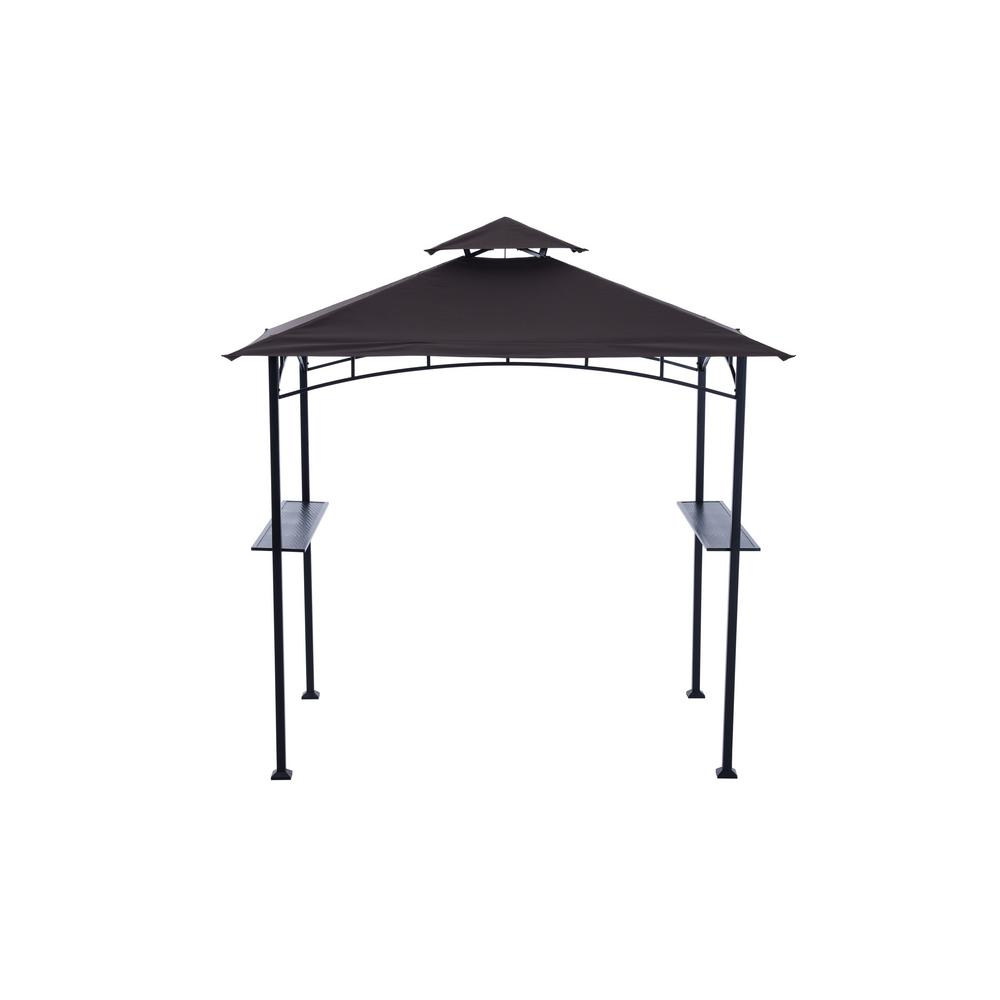 Sunjoy Aragon 5 ft. x 8 ft. Black Steel Grill Soft Top Gazebo  sc 1 st  Home Depot & Sunjoy Aragon 5 ft. x 8 ft. Black Steel Grill Soft Top Gazebo ...
