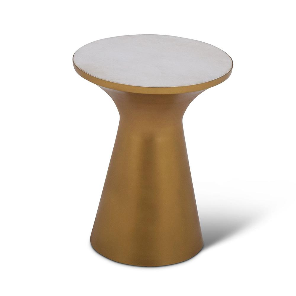 Steve Silver Company Jaipur Brass Gold And Marble Round End Table Jp160t The Home Depot