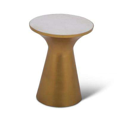 Jaipur Brass, Gold and Marble Round End Table