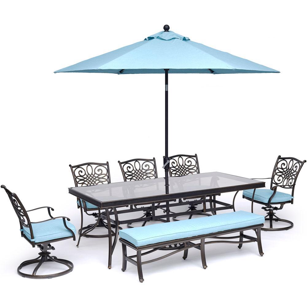 Dining Set Blue Bench Glass Table Umbrella