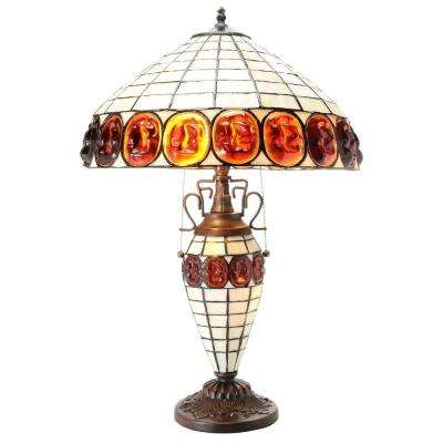 Ivory Turtleback-Style 23 in. Stained Glass Indoor Table Lamp with Pull Switch