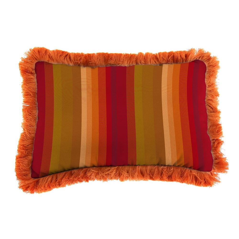 Jordan Manufacturing Sunbrella 19 in. x 12 in. Astoria Sunset Outdoor Throw Pillow with Tuscan Fringe