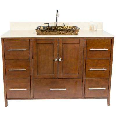 Manhattan 48.75 in. W x 22.25 in. D Bath Vanity in Brown with Granite Vanity Top in Beige with Cobalt Copper Basin