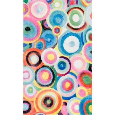 Abstract Ripples Wilhite Shaggy Multi 3 ft. x 5 ft. Area Rug