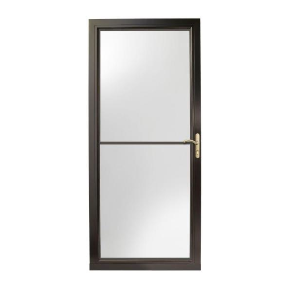 36 in. x 80 in. 3000 Series Black Right-Hand Self-Storing Easy Install Aluminum Storm Door with Brass Hardware
