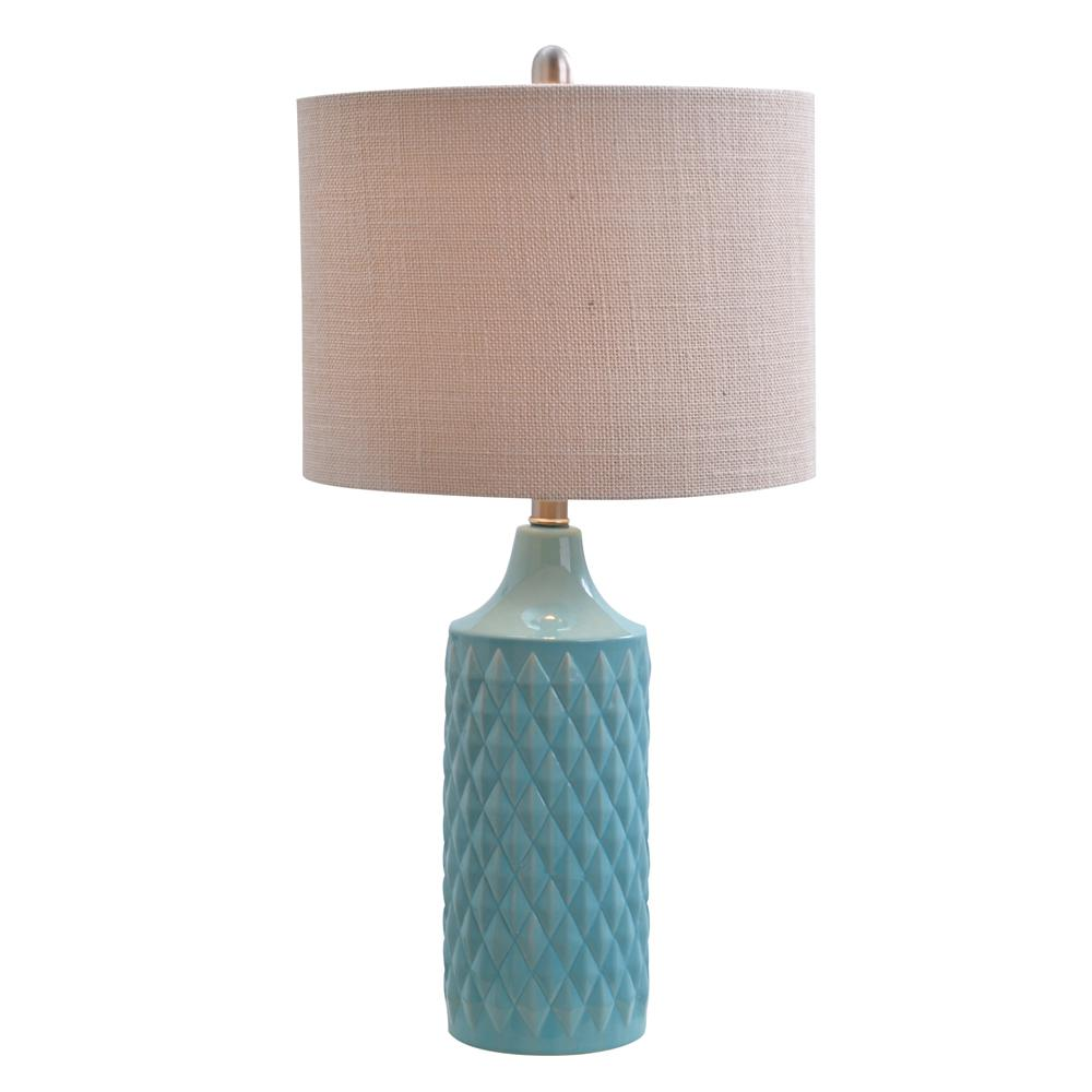 Charmant Blue Ceramic Table Lamp With Linen Shade