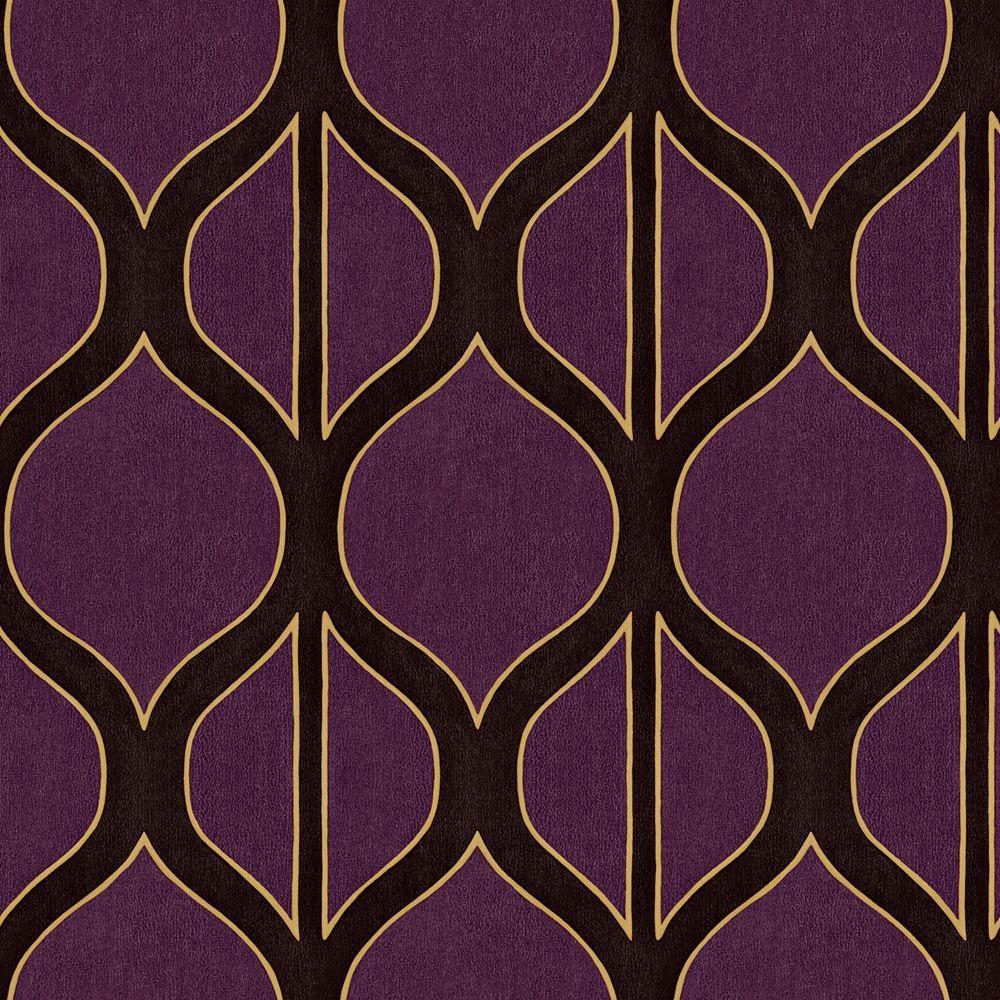 The Wallpaper Company 56 sq. ft. Aubergine Modern Geometric Design Wallpaper