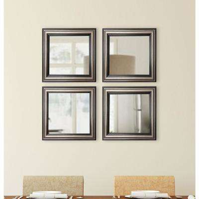 17.5 in. x 17.5 in. Antique Silver Square Wall Mirrors (Set of 4)