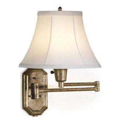 1-Light Antique-Gold Swing-Arm Sconce