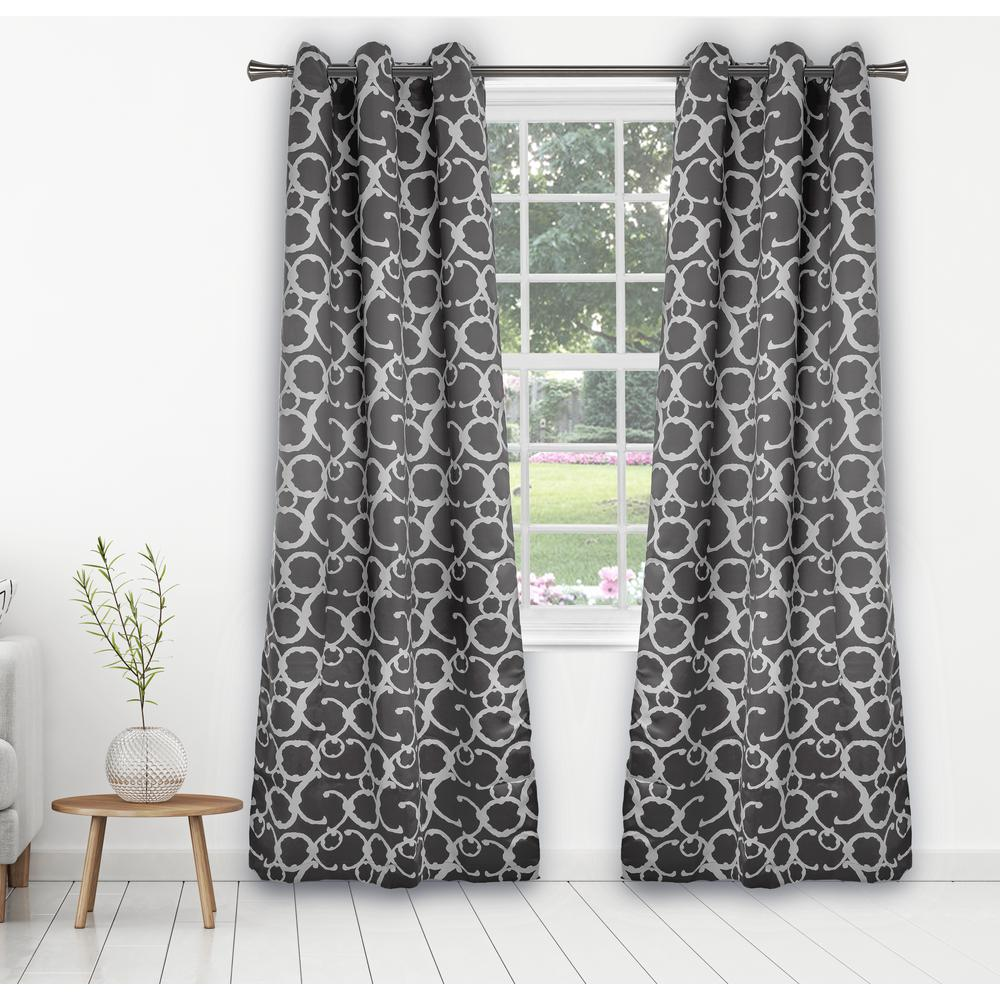 Duck River Rhys 38 in. x 84 in. L Polyester Blackout Curtain Panel in Grey (2-Pack)