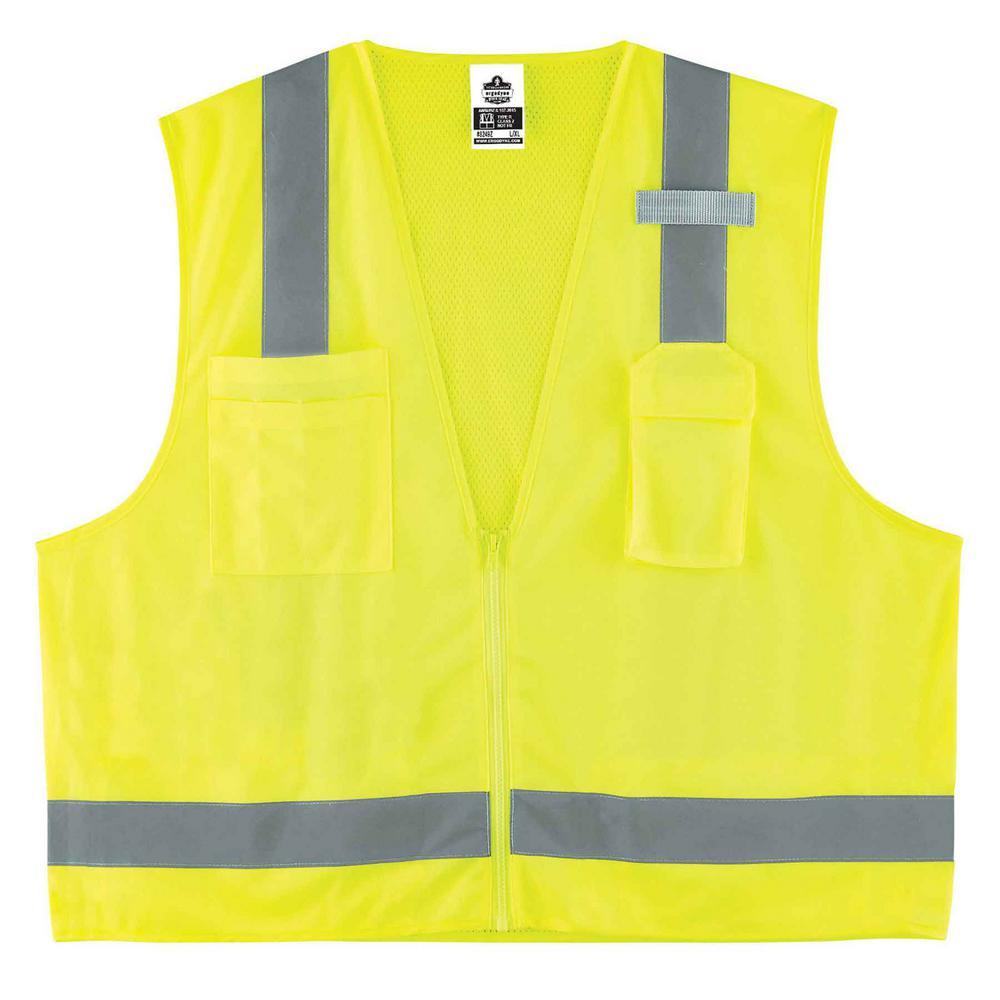 Glowear S/M Lime Type R Class 2 Economy Surveyors Vest, Size: Small, Hi-Vis Lime