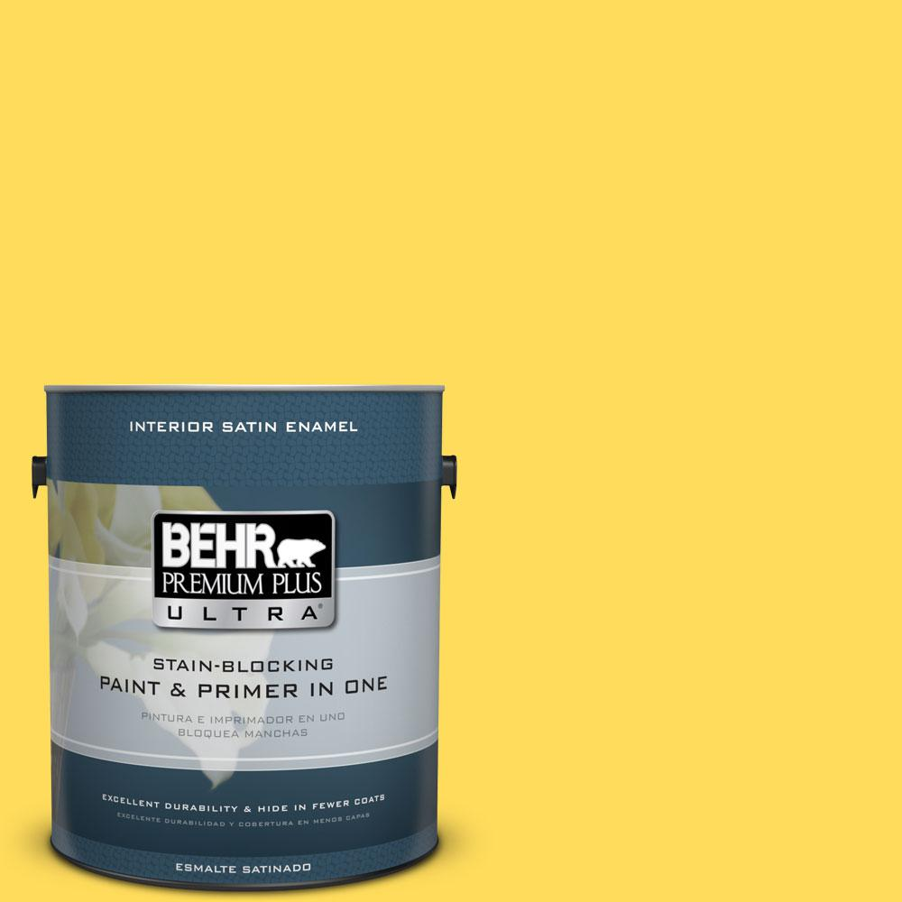 BEHR Premium Plus Ultra 1-gal. #380B-5 Neon Light Satin Enamel Interior Paint